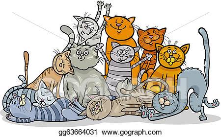 Vector happy cats cartoon. Kitten clipart group cat