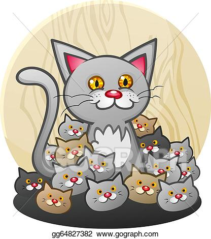 Kitten clipart group cat. Vector illustration mother with