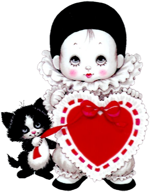 Valentine clipart adorable. Cute mime with heart
