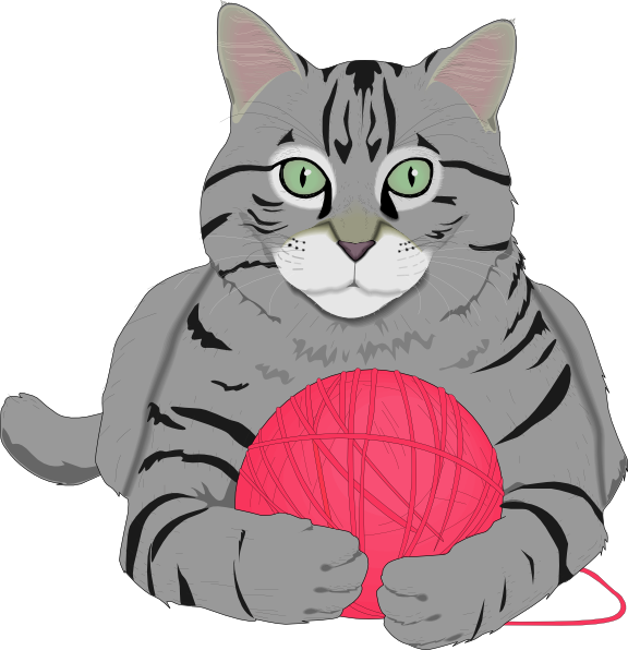 cat with pink. Kitty clipart ball yarn