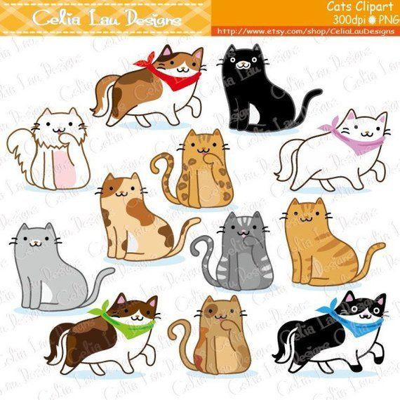 Kitten clipart pretty cat. Cute cats clip art