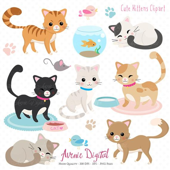 Kitten clipart pretty cat. Cute scrapbooking printables vector