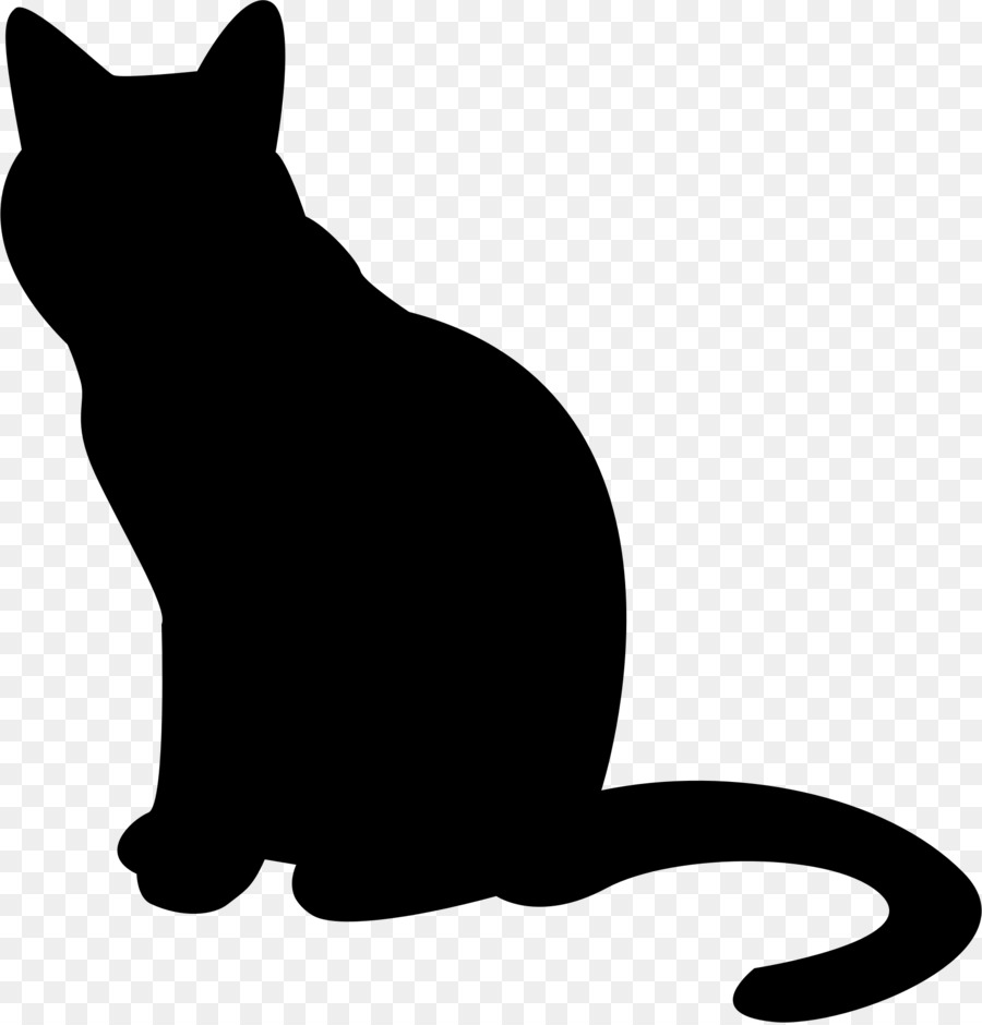 Cartoon cat . Kitten clipart silhouette
