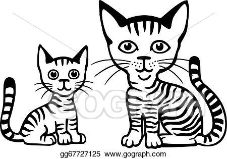 Vector art tabby and. Kitten clipart striped cat