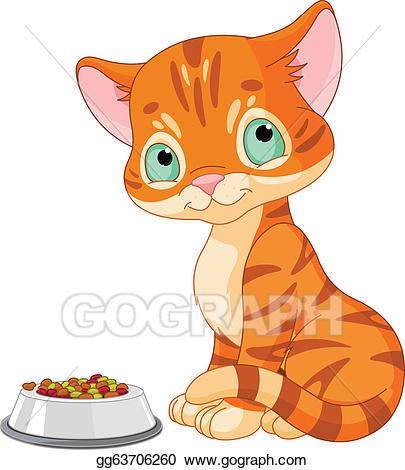 Kitten clipart striped cat. Vector stock cute illustration