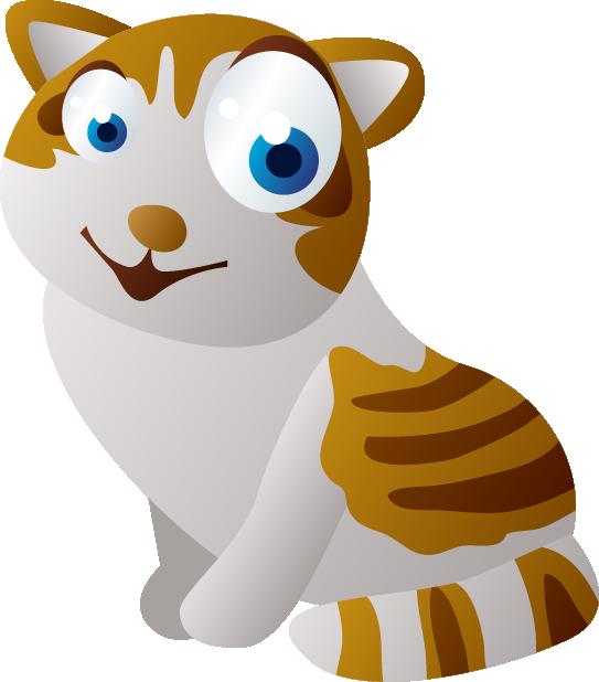 Cartoon sticker animation big. Kitten clipart striped cat