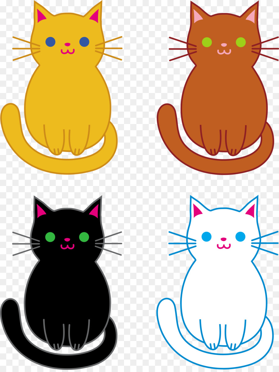 Kitten clipart three cat. Line png download free