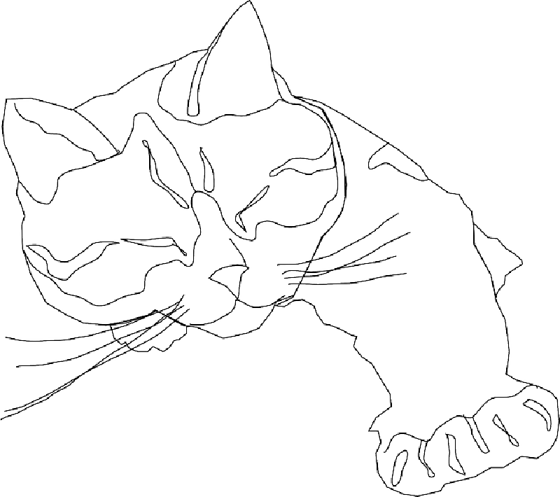 Simple drawing of cat. Kitten clipart traceable