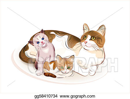 Vector art cats family. Kittens clipart two