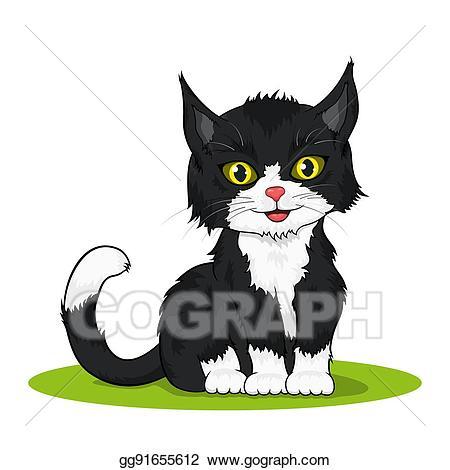 Illustration small cute stock. Kitten clipart vector