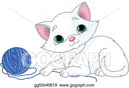 Kitty clipart ball yarn. Vector stock playful white
