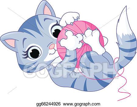 Vector stock kitten illustration. Kittens clipart playful