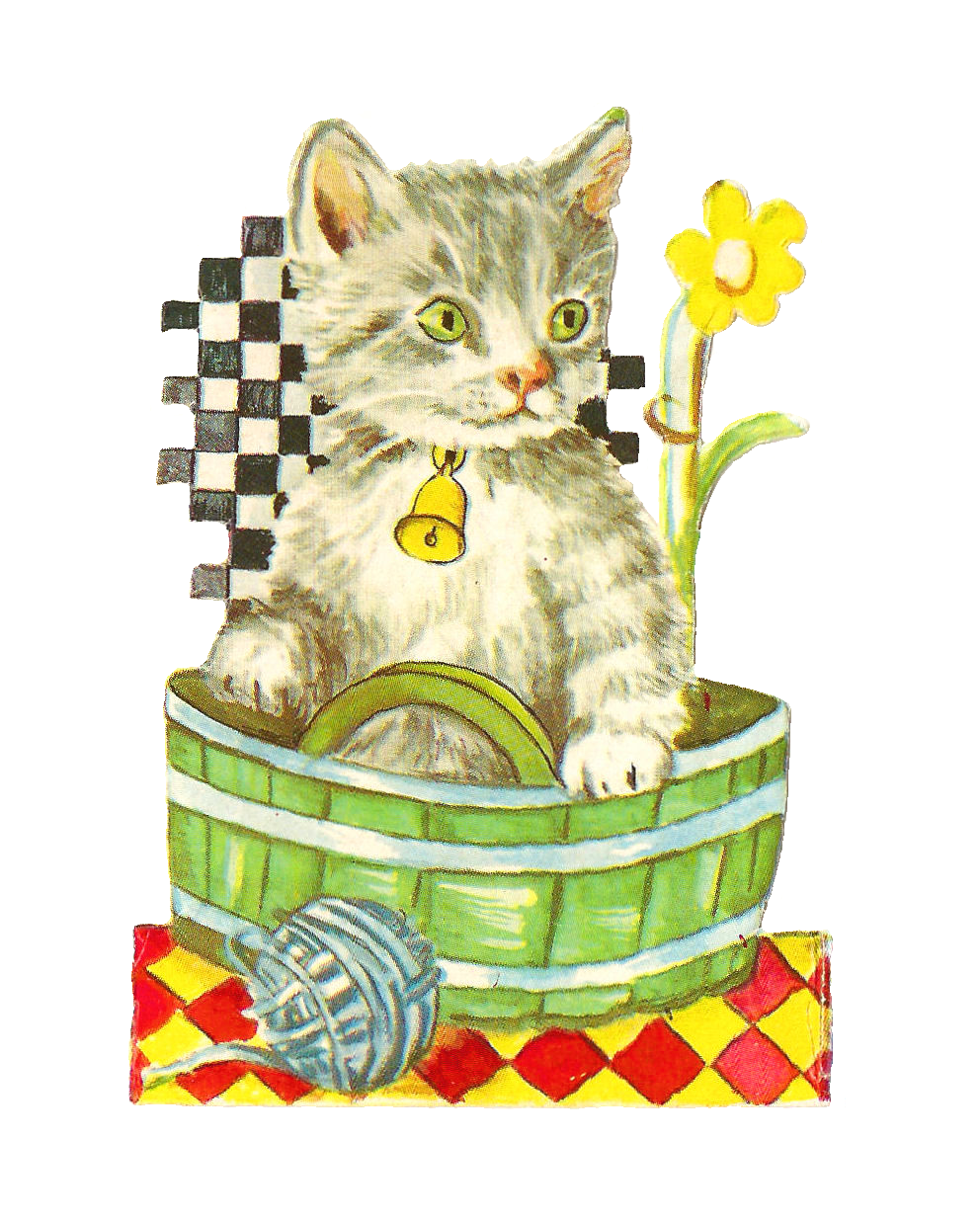 Antique images free animal. Kittens clipart one cat
