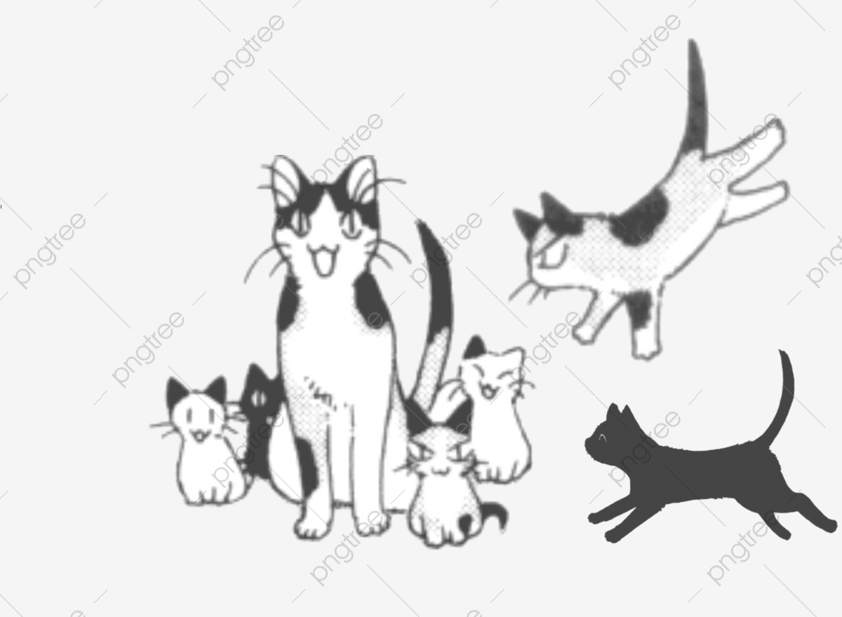 Kittens clipart cat family. Big and kitten pixel