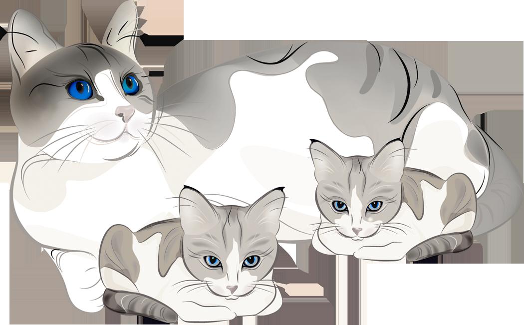 Art animals kitties in. Kittens clipart cat family