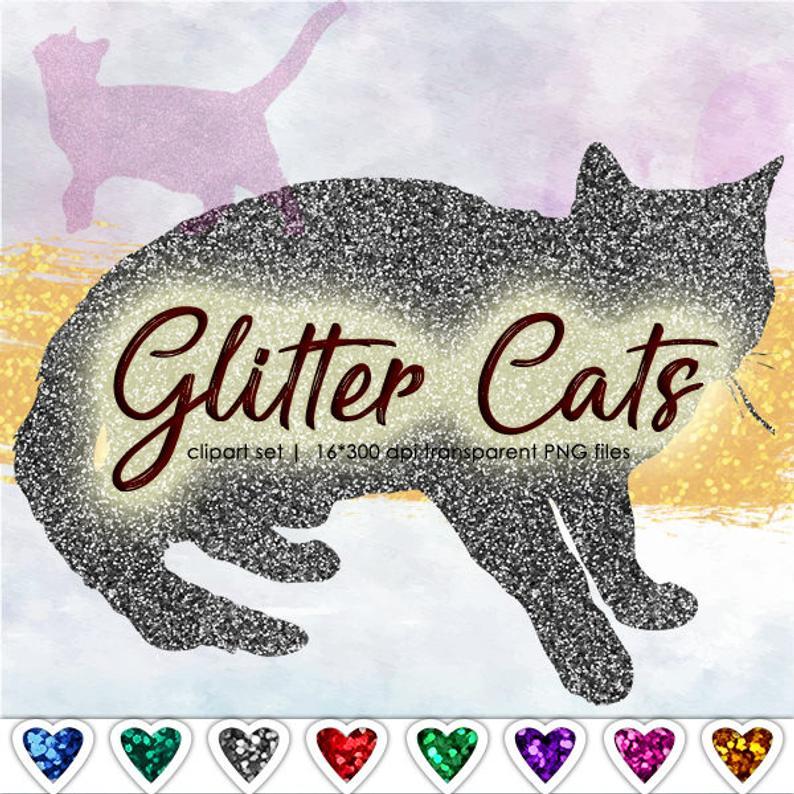 Kittens clipart cate. Kitten glitter cat silhouette