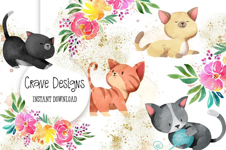 Kittens clipart flower. Kitten cute little bouquet