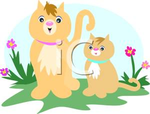 A colorful cartoon of. Kittens clipart mother cat