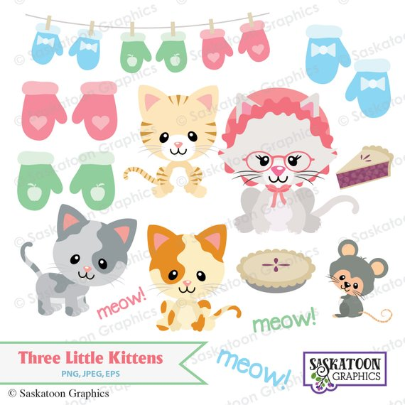 Little lost their mittens. Kittens clipart three