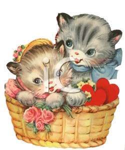 Cute in a basket. Kittens clipart two