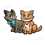 Kittens clipart two. Orange and gray