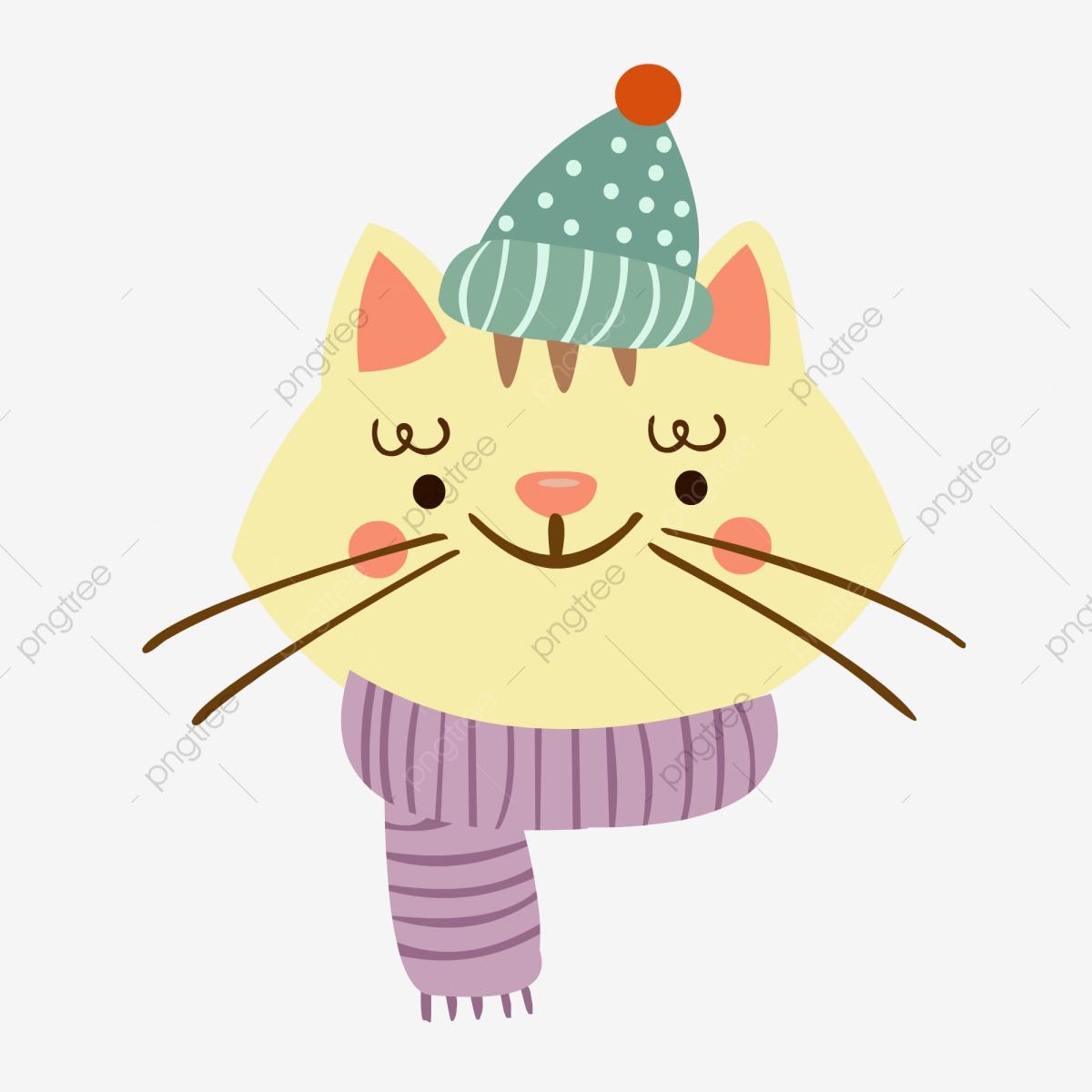 Animal element cold cartoon. Kittens clipart winter