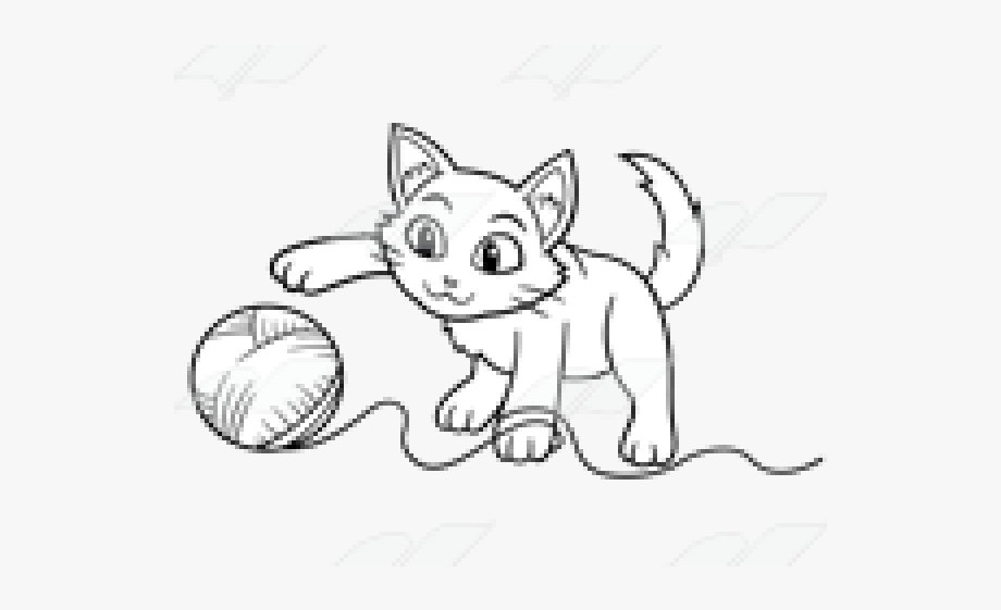 Kittens clipart yarn clip art. Kitten playing with drawing