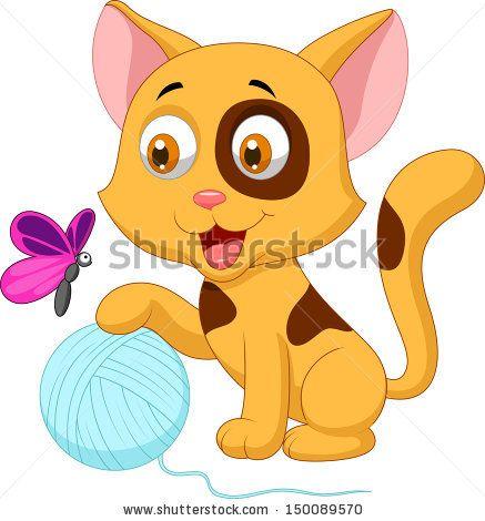 Cute cat cartoon playing. Kitty clipart ball yarn
