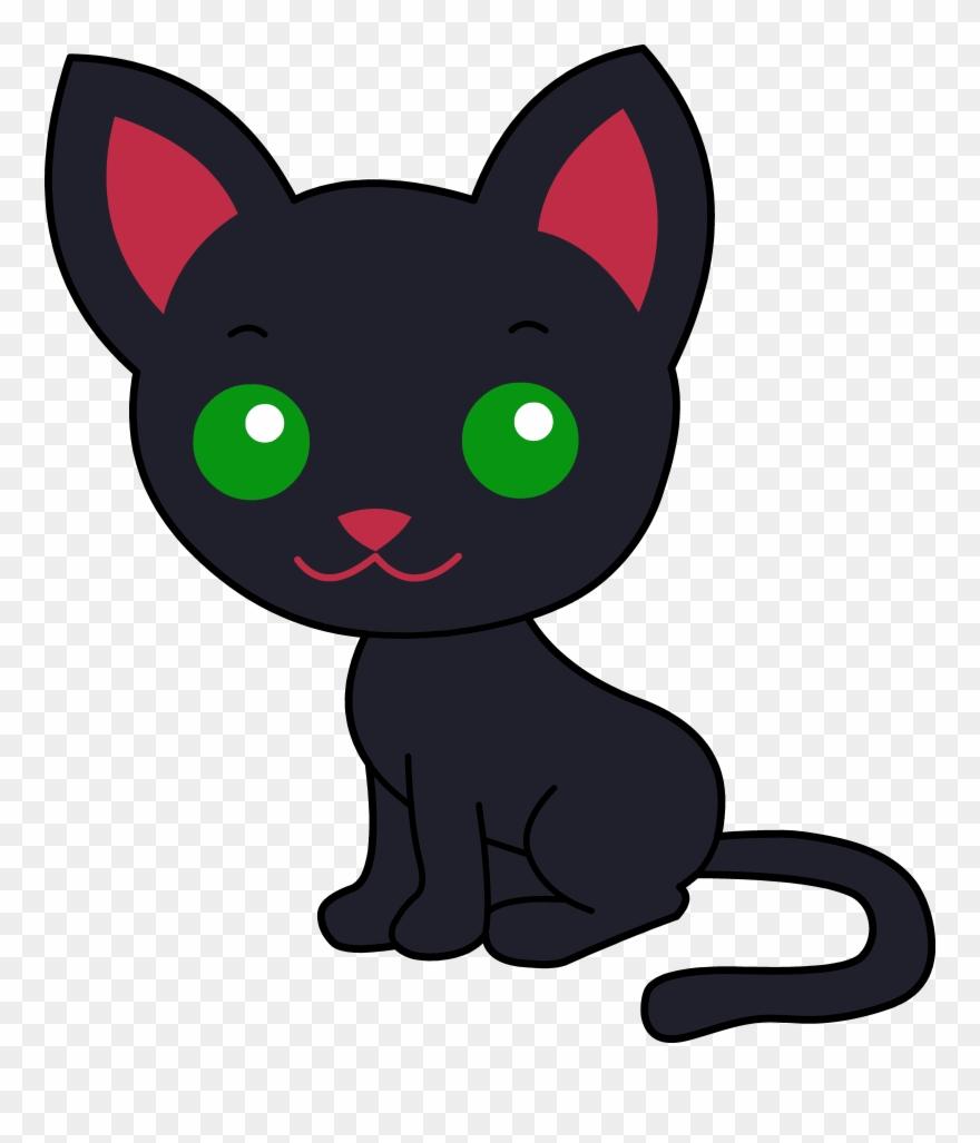 Cute black cartoon . Kitty clipart barn cat