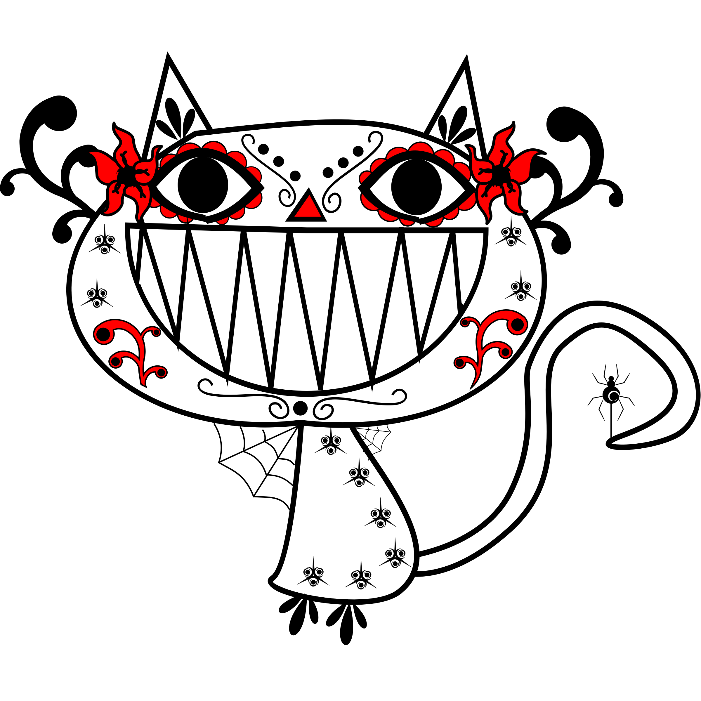 Kitty clipart black panther. Catrina color smily cat