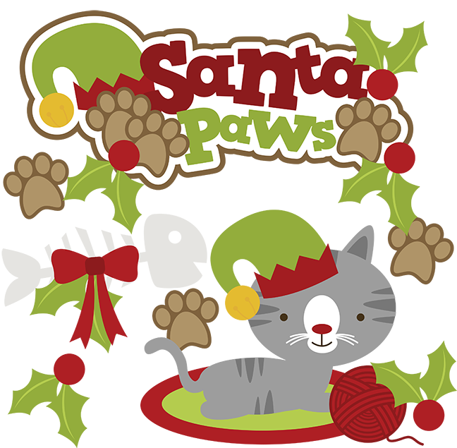 Santa paws svg cat. Kitty clipart christmas