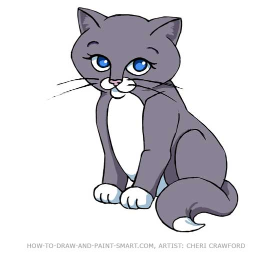 Free cartoon cat download. Kitty clipart colored