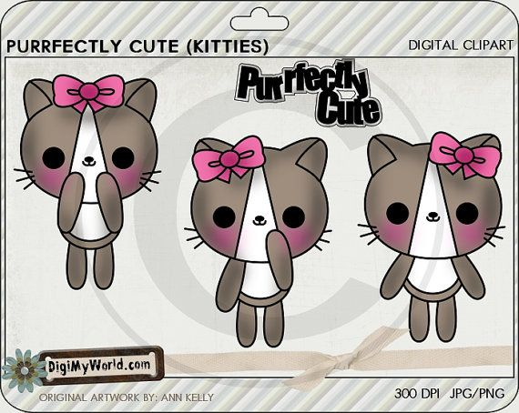 Kitty clipart colored. Kawaii kittens cat cats