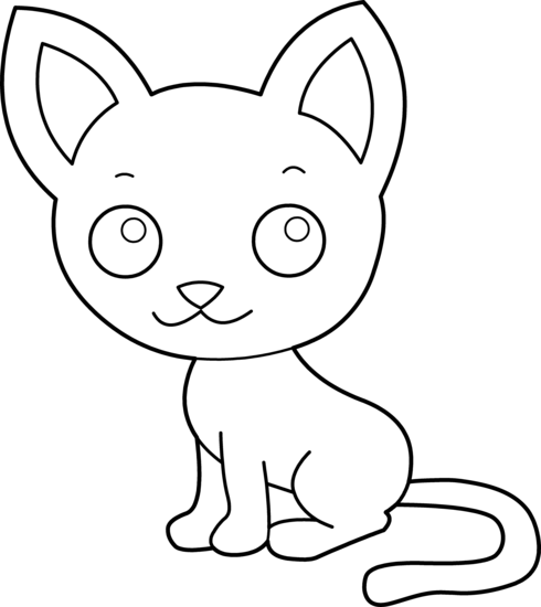 Cute cat coloring page. Kitty clipart colouring