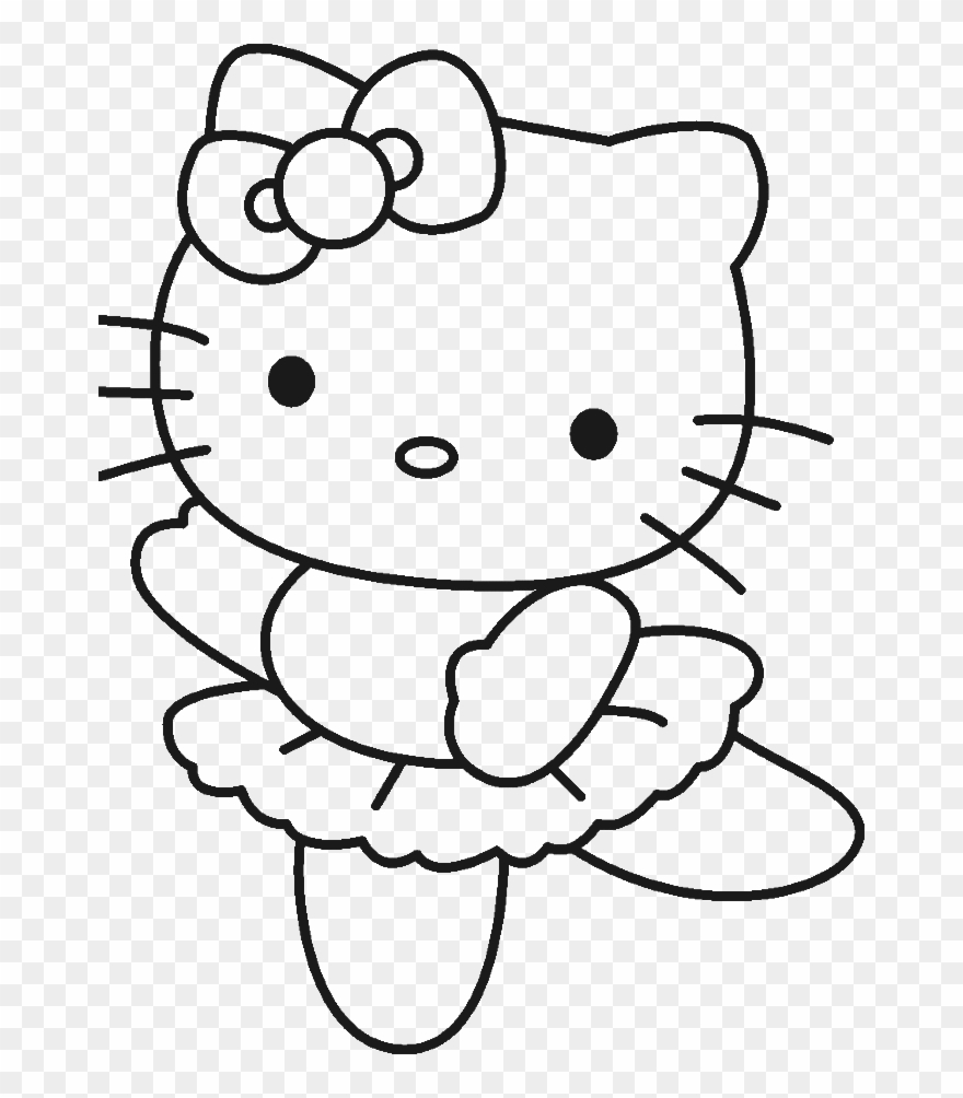 Kitty clipart colouring. Color pages of hello