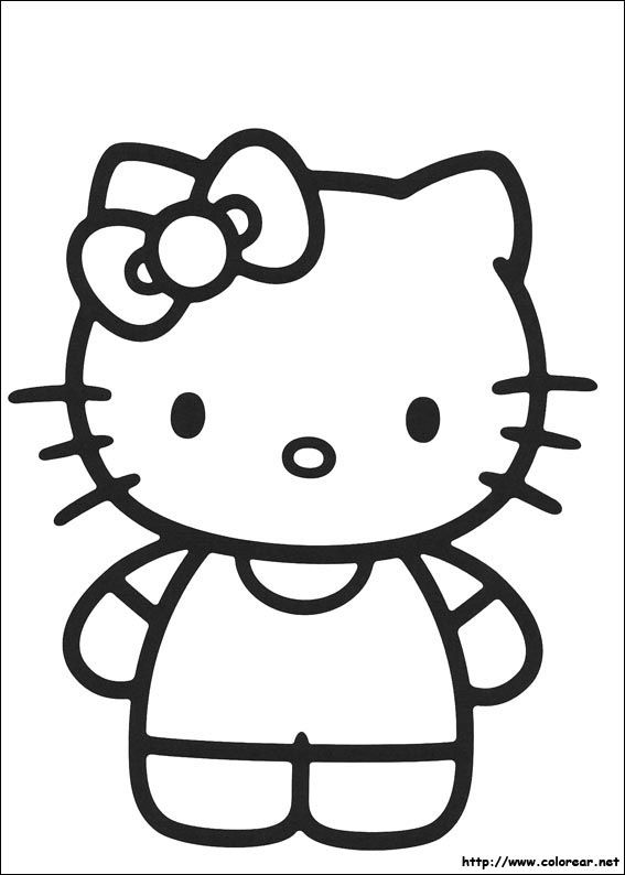 Kitty clipart colouring. Hello pages