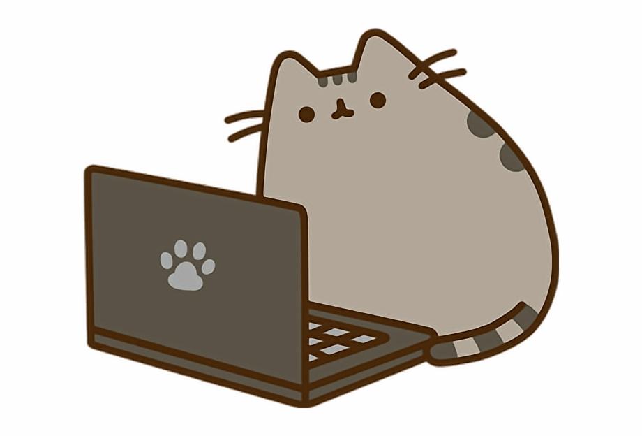 Kitty clipart computer. Pusheen laptop cat sticker