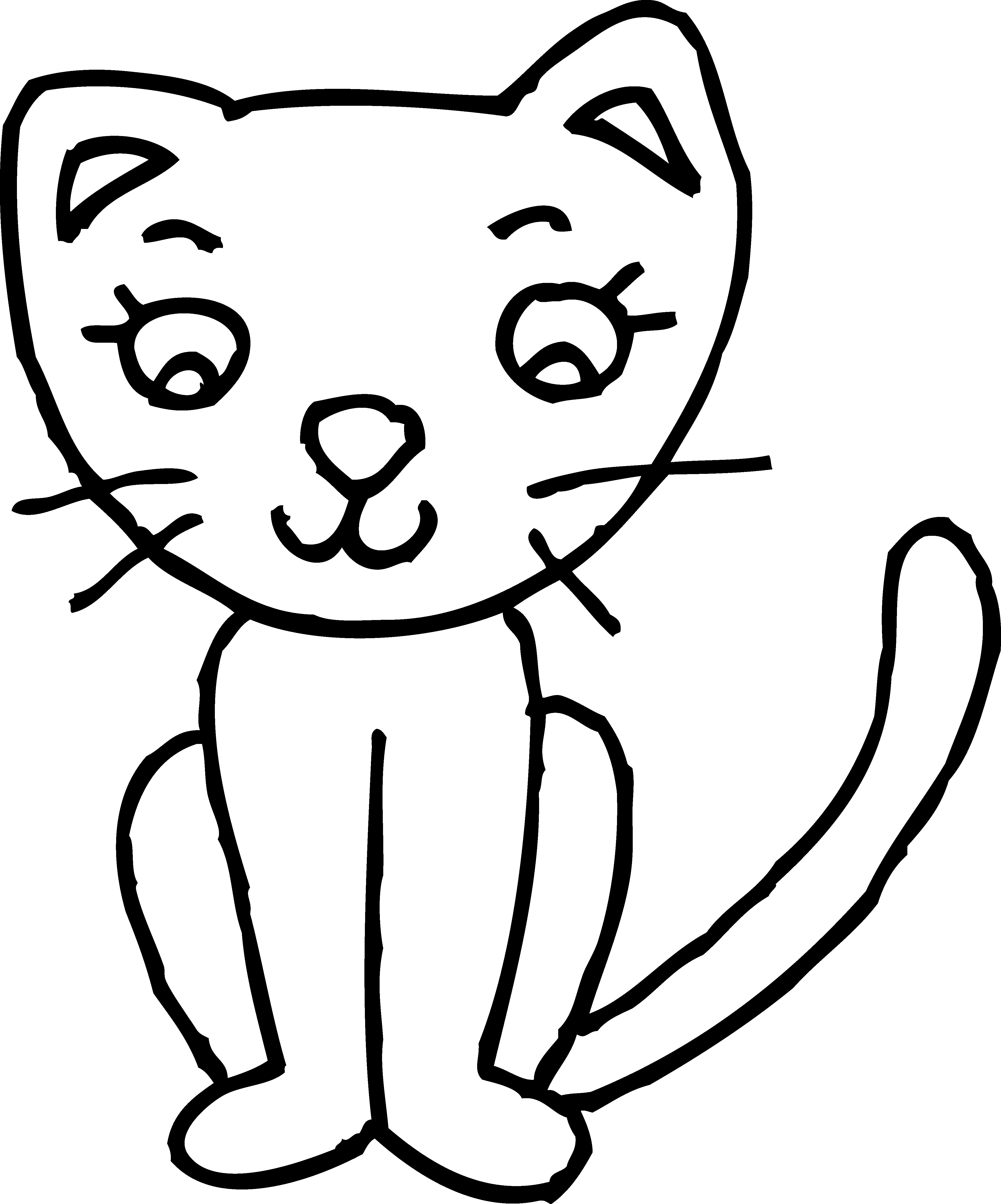Kitty clipart easy. Cat black and white