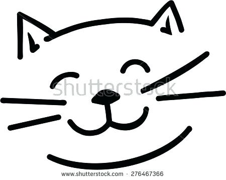 Simple cat drawing free. Kitty clipart easy