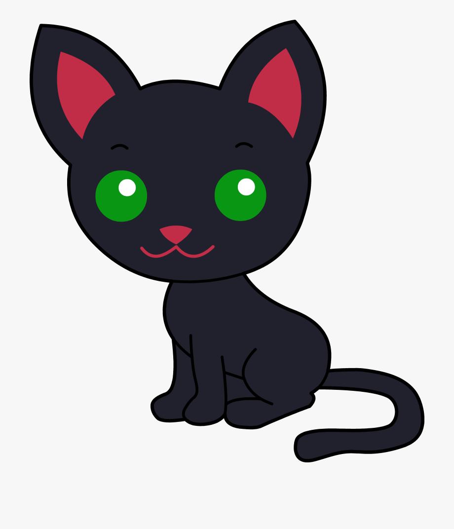 Kitty clipart kitty cat. Cute black clip art