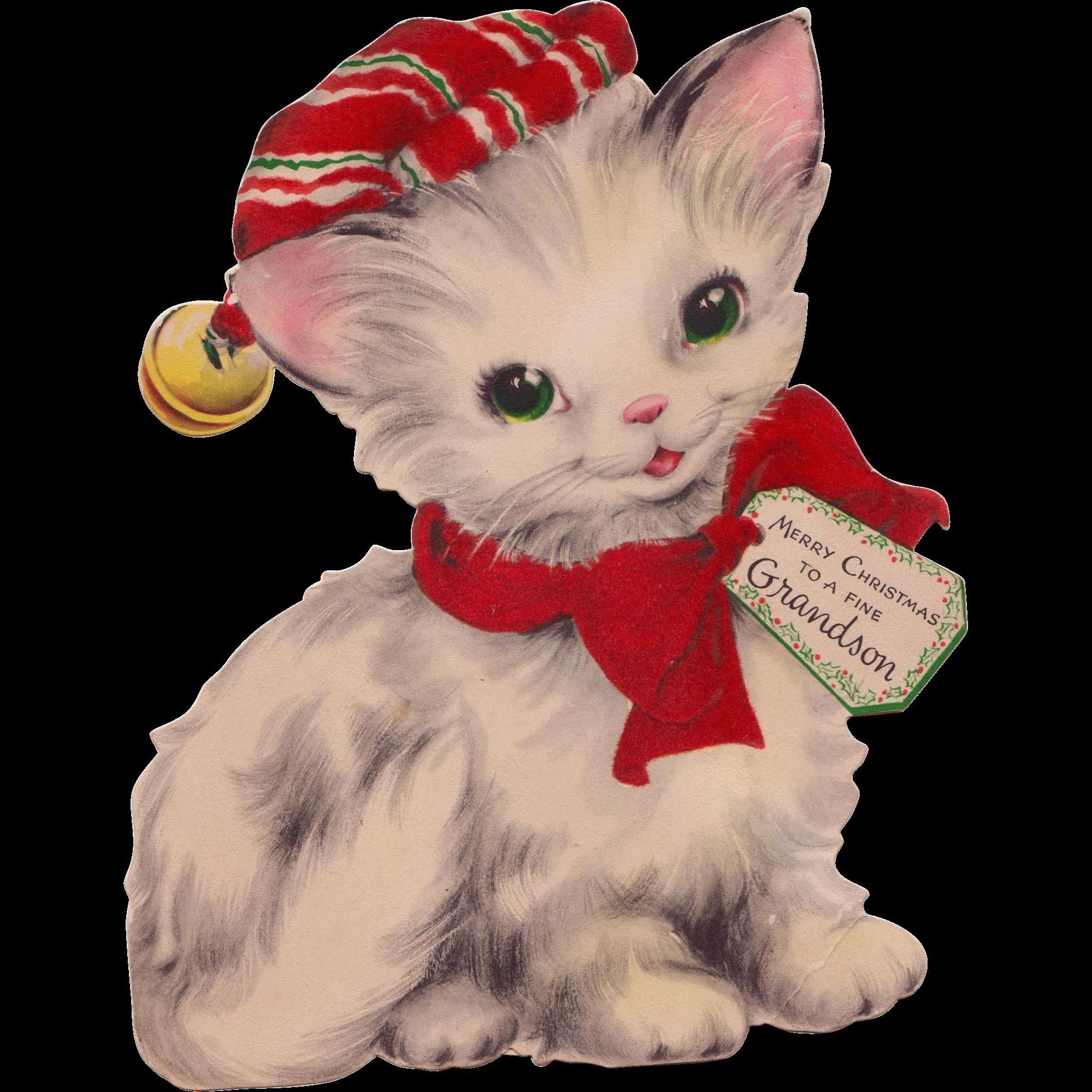 Kitty clipart merry christmas. Large gorgeous kitten flocked