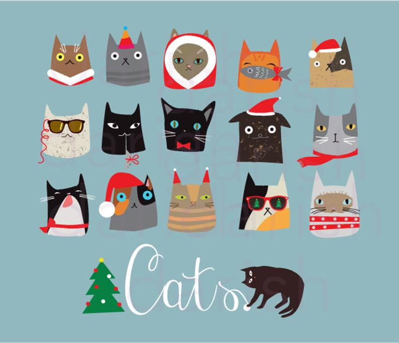 Kitty clipart new year. Christmas cats clip art