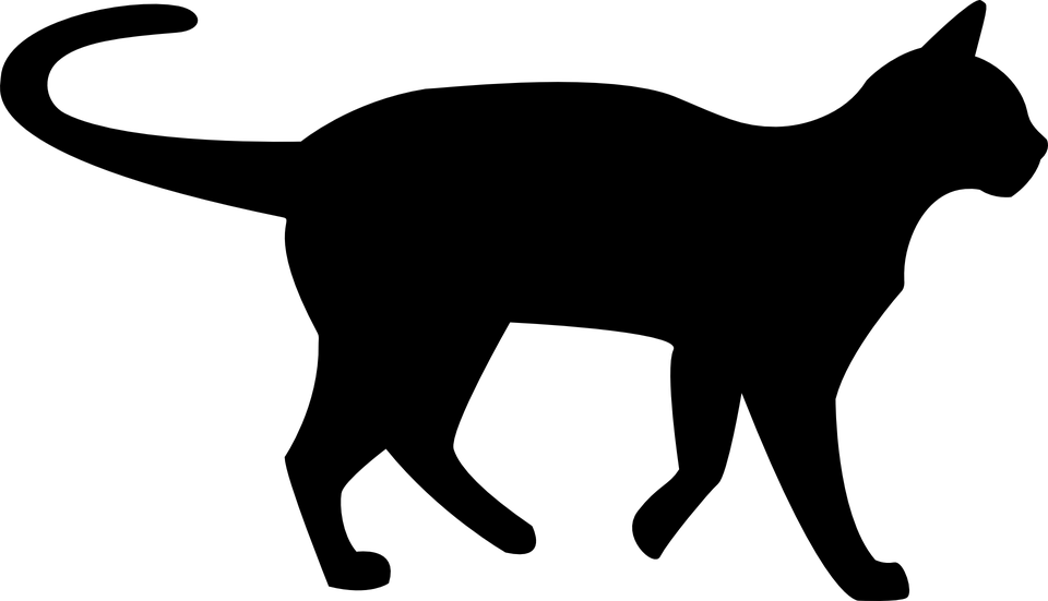 Black cat silhouette clip. Kitty clipart shadow