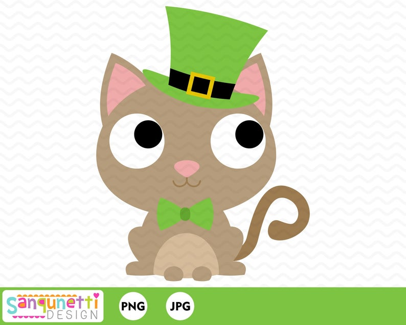 Kitty clipart st patrick's day. Patricks leprechaun holiday instant