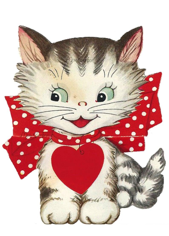 Vintage retro clip art. Kitty clipart valentine