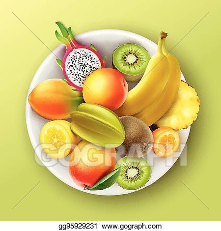 Kiwi clipart fruit plate. Vector art full of