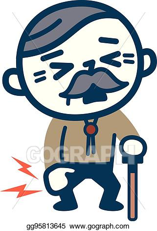 Knee clipart vector. Old man with pain