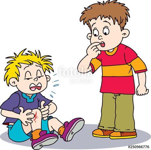 Cartoon crying with leg. Knee clipart wounded boy