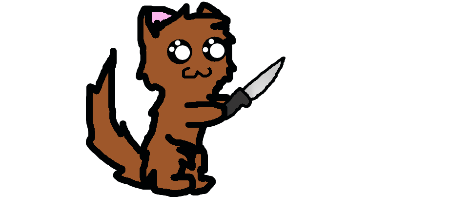 Knife clipart comic. A cat holding by