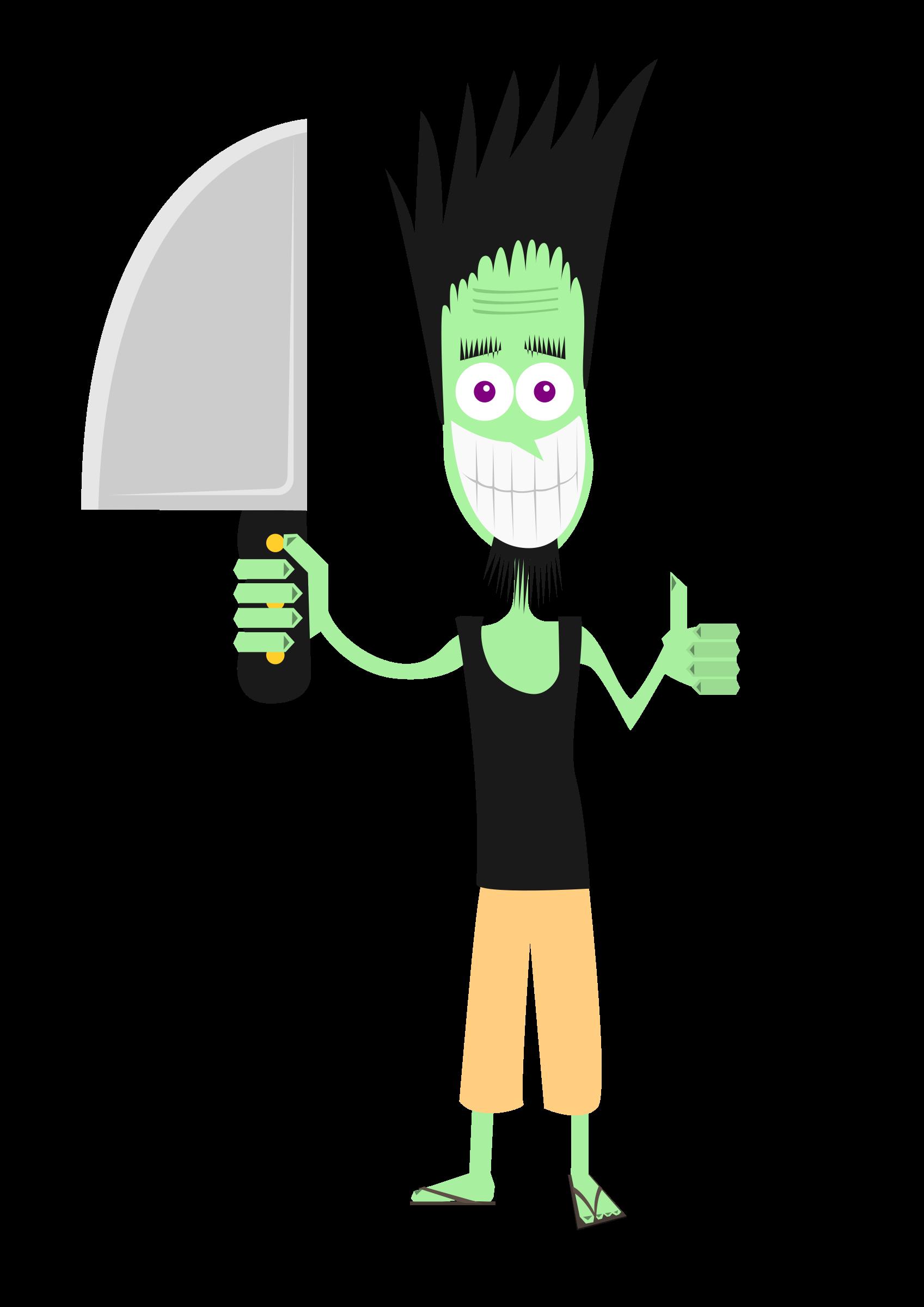 Man with big image. Knife clipart illustration